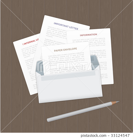 Vector opened paper envelop with letter on wood 33124547