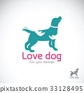 Vector of human hand that hugs the dog. 33128495