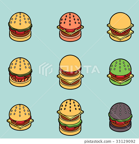 Burgers color outline isometric icons 33129092