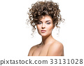 beautiful girl with curly hairdo 33131028