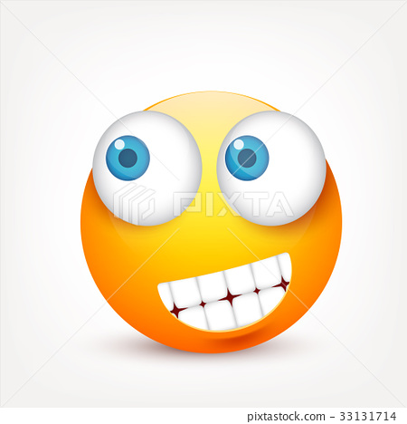 Smiley with blue eyes,emoticon. Yellow face with 33131714