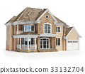 House isolated on white. Real estate concept. 3d 33132704