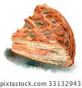 水彩畫 蘋果餅 餡餅 33132943