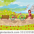 girl sitting on the bench in the park 33133558