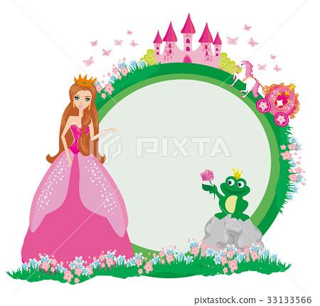 Beautiful young princess and big frog - frame 33133566
