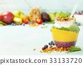 Freshly blended fruit smoothie in glass jar  33133720