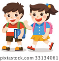 Back to school. kids go to school with bag pack. 33134061