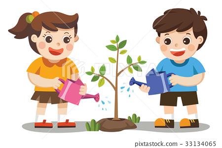 Cute kids volunteers planted and watering tree. 33134065