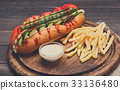 American fast food - hot dog and french fries 33136480