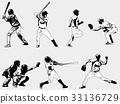 baseball, player, silhouette 33136729