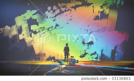 man paints colorful brush stroke in the air 33136803