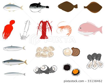 fish and shellfish, seafood, set 33138462