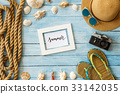 Travel tourism objects isolated top view vacation 33142035