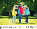 Children with rucksacks standing in the park near 33143679