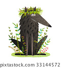 Black Friendly Cute Wolf Smiling in Grass 33144572