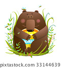 Adorable Bear Cub Eating Sweet Honey 33144639
