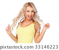 happy smiling young woman with blonde hair 33146223
