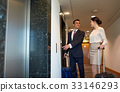 business team with travel bags at hotel elevator 33146293