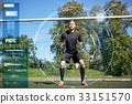 goalkeeper or soccer player at football goal 33151570