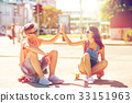 city couple skateboard 33151963