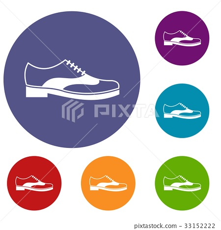 Men shoe with lace icons set 33152222