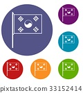 South Korea flag icons set 33152414