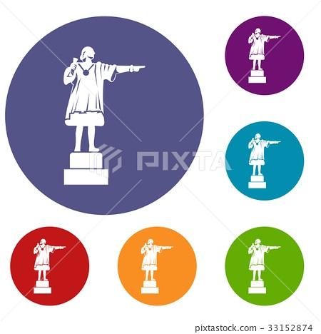 Columbus monument icons set 33152874