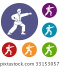 Aikido fighter icons set 33153057