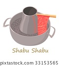 Shabu shabu icon, cartoon style 33153565