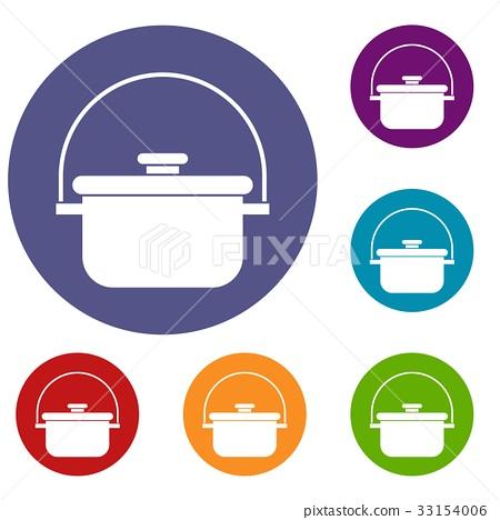 Cooking cauldron icons set 33154006
