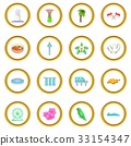 Singapore travel icons circle 33154347