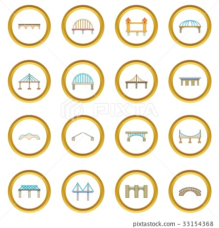 Bridge construction icons circle 33154368