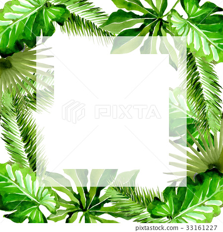 Tropical Hawaii leaves palm tree frame in a - Stock Illustration ...