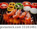 shrimp,prawn grilled on barbecue stove 33161461