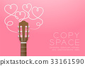 Classic guitar brown color and heart symbol 33161590