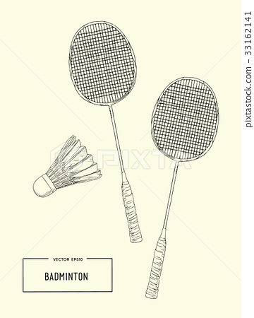 Badminton racket and shuttlecocks. sketch vector. 33162141