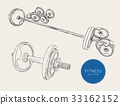 Dumbbells barbells and weight, sketch vector. 33162152