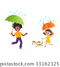 vector people keeping umbrella in rain set 33162325
