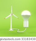 Wind turbine and glowing light bulb 33163430
