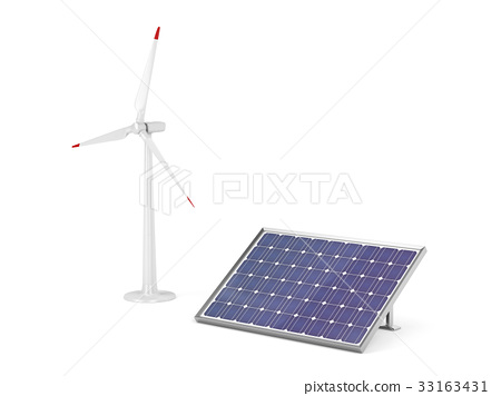 Wind turbine and solar panel 33163431
