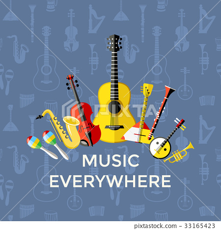 Digital vector blue music instruments 33165423