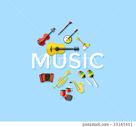 Digital vector blue music instruments 33165451