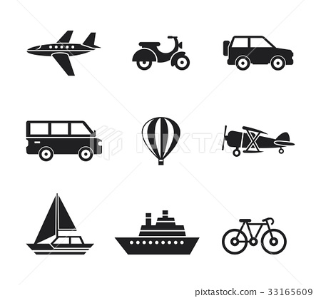 Digital vector black travel transport 33165609