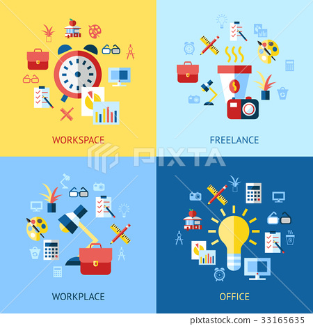 Digital vector blue red work space icons 33165635