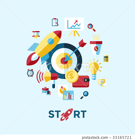 Digital vector blue red startup 33165721