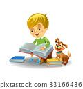 Cute boy reading book 33166436