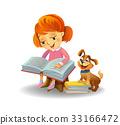 Cute girl reading book 33166472