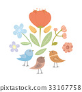Illustration with flowers collection and birds 33167758