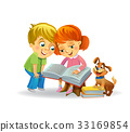 Cute girl and boy reading book 33169854