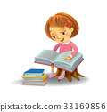 Cute girl reading book 33169856